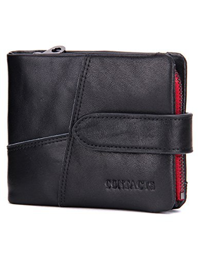 Contatti da uomo morbido vera pelle Trifold portafoglio porta carte di credito portamonete borsetta nero