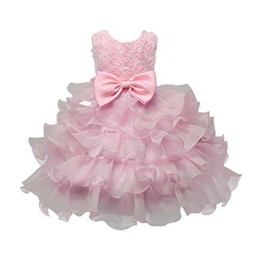 ❤️Kobay Kinder Baby Mädchen Blumen Geburtstag Hochzeit Brautjungfer-Festzug Prinzessin Abendkleid (70/0.5-1Jahr, Rosa) (Baby Bekleidung Coral)