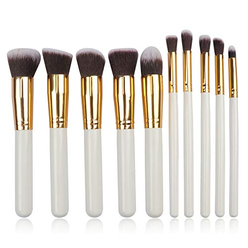 Fliyeong 10x Maquillage Yeux Brush Set Fondation professionnelle Correcteur Placage Brosses Dames Cosmetic Brush Maquillage Yeux Brush Set Pinceau Sourcils (Blanc + Or)