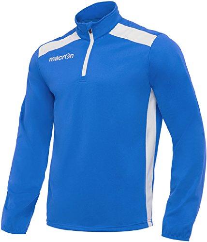 Felpa Sportiva Uomo Maglia Tuta da Ginnastica Mezza Zip Macron Tarim Top, Colore: Azzurro/Bianco, Taglia: M