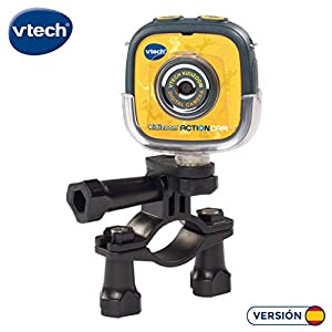 VTech- Kidizoom Action CAM Cámara de Fotos y vídeos para niños, Incluye Diferentes Soportes para la instalación y Juegos incluidos, Sumergible, Color Negro/Amarillo, 28.7 x 20.1 x 8.1 (3480-170722)