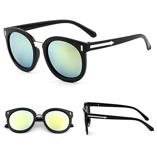 Sonnenbrillen Sonnenbrille Rund Frauenschatten Hat Überdimensionale Brille Klassische Designerin Sonnenbrille Mode Stil Black Frame Gold Film (Taschenklau)