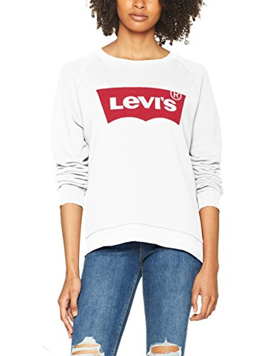 Levi's Damen Sweatshirt Relaxed Graphic Crew, Weiß/Better Batwing Sweatshirt White 0014, Medium (T-shirt Weiß Crew)