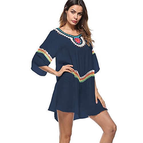 Sommer Strand kleid Sunday bademode swimsuit badesuit Lose Bikini Cover Up One-Size Minikleider Oberteile Bluse Sommerkleid Beachwear Blumen Druck One-Size 2018 (Einheitsgröße, Navy) (Support-tankini-top)