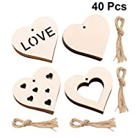LIOOBO 40Pcs Wooden Heart Pendants Unique Creative Chic Valentines Day Gifts Romantic Love Hanging Ornaments