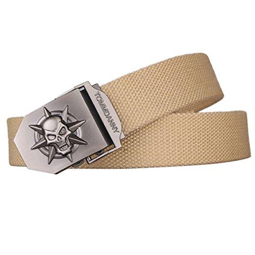 Panegy - Cinturón Lona de Hombre con Hebilla Automática Correa de Diseño de Cráneo Estilo Gotíco - 120cm Caqui Rayas