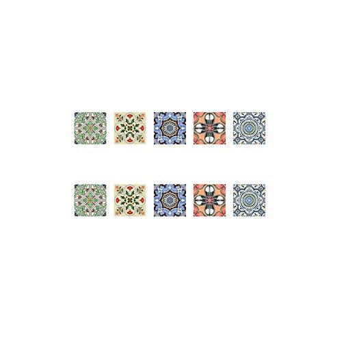 Adhesivo PVC Teja Pegatinas Florales del Estilo Pared Impermeable Pegatinas Decorativas para el Dormitorio Cocina Piso de cerámica y Azulejos de la Pared 1PC