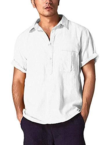 Sleeve V-neck Henley (Shallood Herren Henley Leinenhemd Button Kurzarm Regular Fit Sommerhemd V-Neck Freizeit Roll-up Sleeve Casual Hemd T-Shirt Weiß Large)