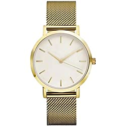 KEERADS Quartz Watch with Analogue Display and Stainless Steel Strap Gold