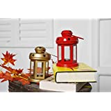 Set Of 2 Sammsara Decorative Iron Lanterns Hanging With T Light Candle (Gold,Red,).Hanging Lanterns For Home Decoration,t Light Holder Hanging