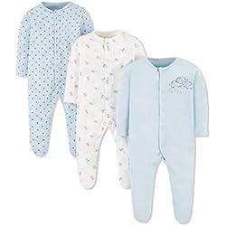 Mothercare Io Cont Blue MFB 3pk Sleeps Pijama, (128), 3-6 Months (Size:68) para Bebés