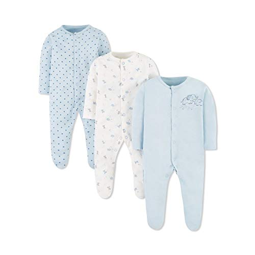 Mothercare Io Cont Blue MFB 3pk Sleeps Pijama, (128), 3-6 Months (Size:68)...