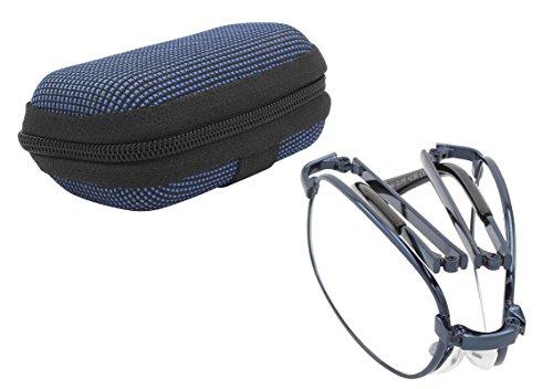 TBOC® Gafas de Lectura Plegables de Bolsillo - Graduadas +3.00 Dioptrías Montura Metálica Azul con Funda para Cinturón con Lentes de Aumento para Presbicia Vista Cansada Leer Ver de Cerca de Diseño Moda Unisex para Hombre y Mujer