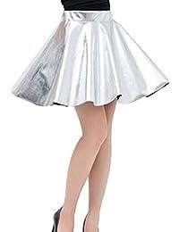 Mxssi Falda Plisada Corta de Cintura Alta Falda Mujer Ropa de Baile  metálica Brillante 5844071a3e9a
