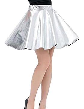 Falda plisada corta de cintura alta Falda mujer Mxssi Ropa de baile metálica brillante