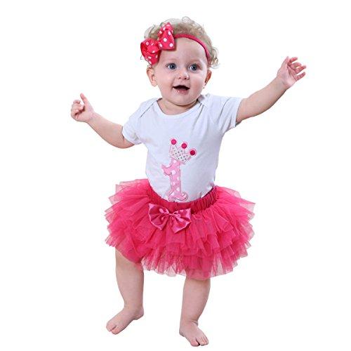 en 1. Geburtstag Tutu mit Stirnband Set (Heißes Rosa, XL/12-18 Monate) (Party-kleid Für 12 Jahre Altes Mädchen)