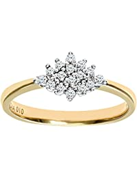 Naava Women's 9 ct Yellow Gold Diamond Cluster Ring