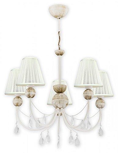 Deckenlampe mit Lampenschirm aus Stoff in Weiß , verchromt Lampe mit Kristall in Shabby Chic Stil ,...