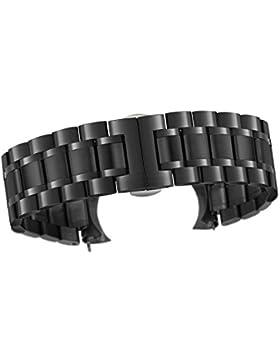 23mm Luxus Männer solide schwere schwarze Stahluhrenarmbänder mit den beiden gebogenen Ende gerade Ende Faltschließe