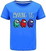 Among Us Verano 100% Camisetas de algodón para niños, niñas, Camisetas de Manga Corta, de 2 a 13 años