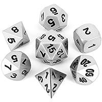 Lot de 7 Polyédrique dès | jeu de dés polyhédrique métallique | argent mat solide | dans une boîte métallique noire | Dongons et Dragons D&D | L'oeil noire - Magic the Gathering MTG - Shadowrun - Pathfinder - Warhammer - Heroscape - Seventh sea - Polaris RPG - Call of Cthulhu - Vampire - Star Wars - Pathfinder - Mage - Savage Worlds - Paranoia - Cyberpunk -World of Darkness - Middle-earth Role Playing