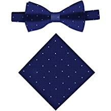 Conjunto Pajarita & Pañuelo de bolsillo navy con lunares blancos   Regalos para hombres   Pajaritas de boda para padrinos