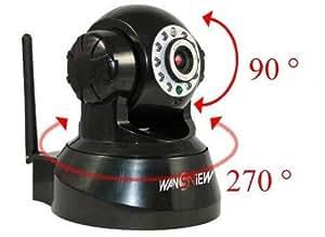 Wansview WiFi Lan/Wlan Audio Bidirectionnel Pan Tilt Caméra IP vision nocturne, sortie d'alarme, alarme par Email,FTP, noir