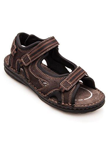 Gepolsterte leder-sandalen für männer. Sport und komfortabel. Braun