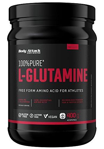 Body Attack 100{452e3fe0b444f00d23d454e65e3cdbd2146dead5a122b540716718a4426a4d3a} Pure L-Glutamine, 1er Pack (1 x 400g)