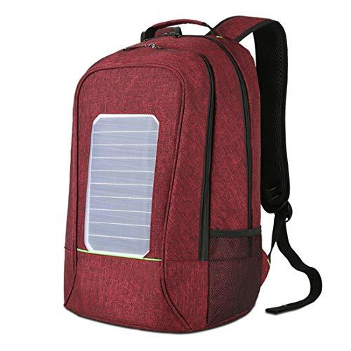 CCDYLQ Solar Computer Rucksack Wasserdicht und Anti-Diebstahl, Laptop-Rucksack mit USB Charging Port Waterproof Travel Rucksack School Daypack für Laptop,Red