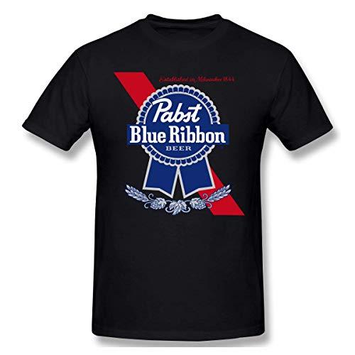 Herren Rundhals Basic Kurzarm T-Shirt Pabst Blue Ribbon Bier Baumwolle Casual Tops 5XL