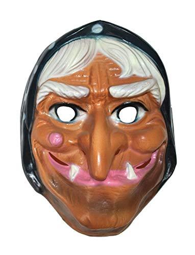 Karnevalsbud - Kostüm Accessoires Zubehör Maske alte Hexe Möhnenmaske, Mask Old Witch, perfekt für Halloween Karneval und Fasching, ()