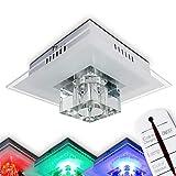 LED Deckenleuchte mit Farbwechsler und Fernbedienung, Glaslampe in stilvollem Design– 1 x G4-Fassung, 24 x RGB LED, inkl. Leuchtmittel, Deckenlampe mit buntem Licht, Wohnzimmer, Flur- Esszimmer