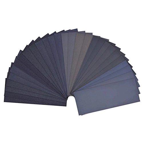 Profi Schleifpapier Set, 120 bis 3000 Grit Schleifpapier Sortiment Trocken und Nass geeignet für Auto Stein Holzmöbel Glas Lack Metall Polieren Automobilschleifen 9 x 3,6 Zoll