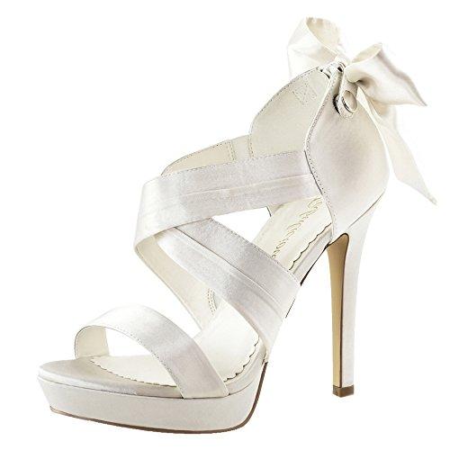 Sandales pour femme en satin beige (ivoire) Blanc - Elfenbein (beige)