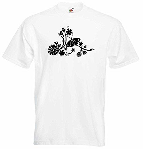 T-Shirt D035 T-Shirt Herren schwarz mit farbigem Brustaufdruck - Tribal Blume / Schmetterling / Natur Mehrfarbig