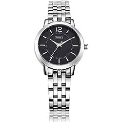 ZHHA 063 Women's Fashion Quartz Wrist Bracelet Waterproof Silver-Tone Watch