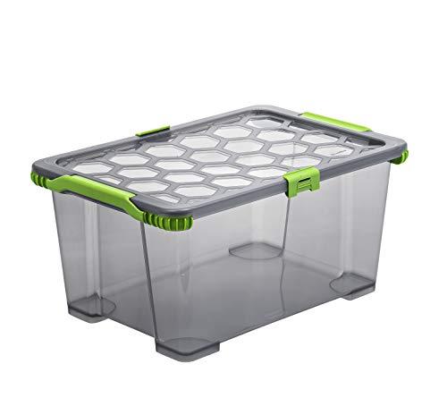 Rotho Evo - Total Protection Aufbewahrungsbox mit Deckel 44 l, Kunststoff (PP), anthrazit, 44 Liter (59 x 39,5 x 28 cm)