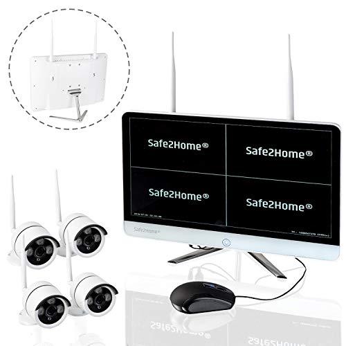 Safe2Home® Funk Überwachungskamera Set deutsch - 8 Kanal mit 4X Full HD Cam - Kamera Set Monitor inkl Rekorder - Secure S1.0 - Speicher - innen außen - Funk Kameras 2,4 GhZ Nachtsicht