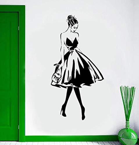 Aufkleber Frau Gesicht Mode Wohnzimmer Vinyl Wandaufkleber Kleidung Boutique Kleid Design Poster Beauty Salon Decor Jungen Tapete Hintergrund 57X112 Cm