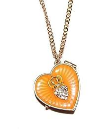 Esmalte bañado en diseño de corazón con camafeo collar con cristales con tachuelas (en una bolsa de regalo de Organza) Fashion joyas