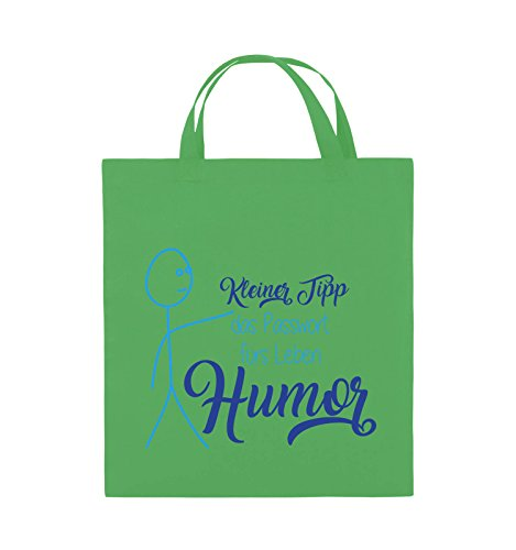 Comedy Bags - Kleiner Tipp das Passwort fürs Leben Humor - Jutebeutel - kurze Henkel - 38x42cm - Farbe: Grün / Hellblau-Royalblau (Humor Grünes Bier T-shirt)