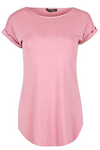Fashion Star Womens Plain Stretchy Turn Up Short Sleeve Curved Hem Jersey T Shirt Top