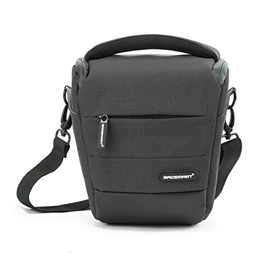 BAGSMART Kompakte SLR/DSLR Kameratasche mit Regenschutz Grau