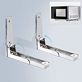 AceFox Sturdy Foldable 304 / 201 Stainless Shelf Rack for Microwave Oven Wall Mount Bracket Load 130lb / 100lb (304 Stainless)
