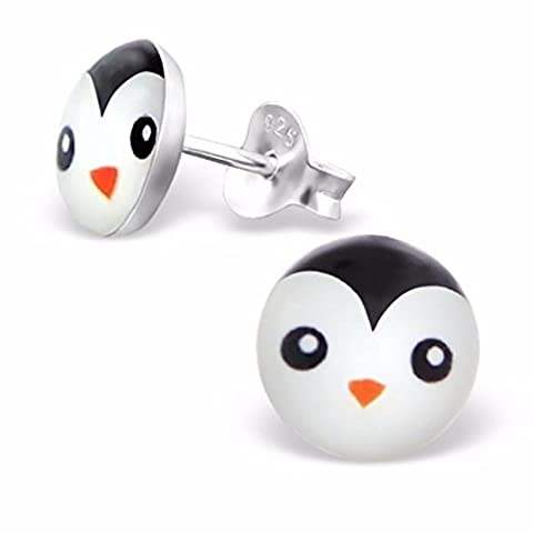 Silvadore - Penguin Studs - 925 Sterling Silver Childrens Logo Earrings - Butterfly Clasp - Free Gift Boxed