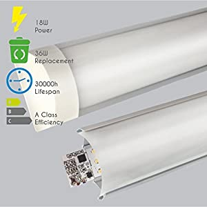 LED Batten Light 5ft 150cm Wide Tube Slim Aluminium Profile 45W 4000-4500K Daylight. Modern Minimalistic Design. Saves Energy Replacing 90W Fitting on Wall or Ceiling. 3y Warranty and 30000h Lifetime by LEDUS - LEDCO