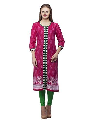 Kurti's Women /Girls Kurtis/Kurti for Girls/Casual Kurti/FormalKurti/Stylish Kurti/Kurta/In 3/4 Sleeve Cotton Embroidered kurtis Pink Color