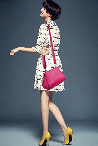 Sunas La nuova borsa di modo delle donne retrò 3 insiemi del raccoglitore del sacchetto di spalla del sacchetto femminile del sacchetto Rosa rossa
