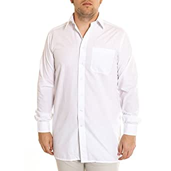 Double two plain white shirt with extra long sleeves for for Extra long shirts for tall men